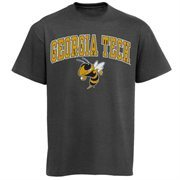 Mens Charcoal GA Tech Yellow Jackets Arch Over Logo T-Shirt