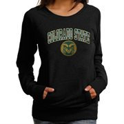 Women's Colorado State Rams Black Scoop Neck Fleece Pullover