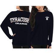 Women's Syracuse Orange Navy Blue Aztec Sweeper Long Sleeve Oversized Top