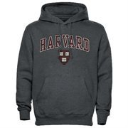 Mens Dark Gray Harvard Crimson Arch Over Logo Hoodie