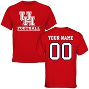 Houston Cougars Personalized Football T-Shirt - Scarlet