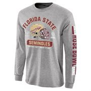 Men's Florida State Seminoles Gray 2015 College Football Playoff Rose Bowl Bound Facemask Long Sleeve T-Shirt
