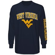 Mens West Virginia Mountaineers Navy Blue Arch & Logo Long Sleeve T-Shirt