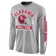Mens Alabama Crimson Tide Gray 2015 College Football Playoff Sugar Bowl Bound Facemask Long Sleeve T-Shirt