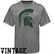Michigan State Spartans Distressed Big Logo Ring Spun T-Shirt - Gray