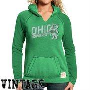 Original Retro Brand Ohio Bobcats Women's Two-Toned V-Neck Hooded Sweatshirt - Green