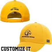 Southern Miss Golden Eagles Elementary Personalized Football Name & Number Adjustable Hat  - Gold