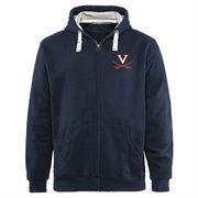 Mens Virginia Cavaliers Navy Blue Gridiron Logo Lefty Full Zip Hoodie