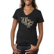 UCF Knights Ladies Distressed Primary Tri-Blend V-Neck T-Shirt - Black