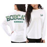 Women's Ohio Bobcats White Aztec Sweeper Long Sleeve Oversized Top