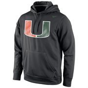 Miami Hurricanes Nike Warp Logo Therma-FIT Hoodie - Black
