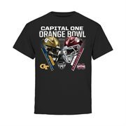 Youth Georgia Tech Yellow Jackets vs. Mississippi State Bulldogs Black 2015 Orange Bowl Criss Cross T-Shirt