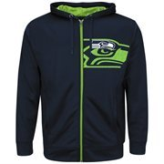 Mens Seattle Seahawks Majestic College Navy Coverage Sack IV Synthetic Full Zip Hoodie