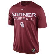 Mens Nike Crimson Oklahoma Sooners Baseball Team Issue Legend Performance T-Shirt