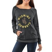 Women's Wyoming Cowboys Charcoal Roundhouse Too Junior Vintage Boatneck Sweatshirt
