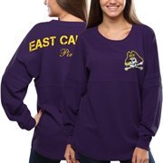 Women's East Carolina Pirates Purple Pom Pom Jersey Oversized Long Sleeve T-Shirt