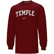 Nike Temple Owls Vertical Arch Long Sleeve T-Shirt - Cherry