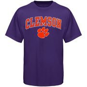 Mens Purple Clemson Tigers Arch Over Logo T-Shirt