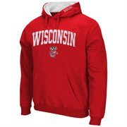Mens Wisconsin Badgers Cardinal Arch & Logo Pullover Hoodie