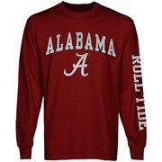 Mens Alabama Crimson Tide Cardinal Arch & Logo Long Sleeve T-Shirt