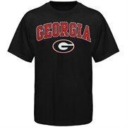 Mens Black Georgia Bulldogs Arch Over Logo T-Shirt