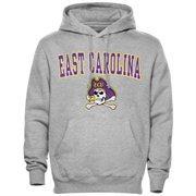 Mens Gray East Carolina Pirates Arch Over Logo Hoodie