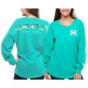 Women's Hawaii Warriors Teal Pacific Impact Pom Pom Long Sleeve T-Shirt