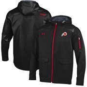 Mens Utah Utes Under Armour Black Ultimate Sideline Full Zip Performance Jacket
