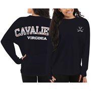 Women's Virginia Cavaliers Navy Blue Aztec Sweeper Long Sleeve Oversized Top