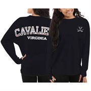 Women's Virginia Cavaliers Navy Blue Aztec Sweeper Long Sleeve Oversized Top
