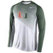 Mens Miami Hurricanes Nike White 2014-2015 Fearless Shootaround Long Sleeve Dri-Fit Shirt