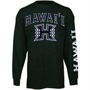 Mens Hawaii Warriors Green Arch & Logo Long Sleeve T-Shirt