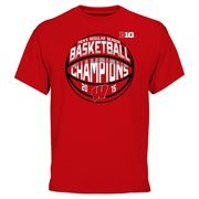 Men's Cardinal Wisconsin Badgers 2015 Big Ten Men's Basketball Regular Season Champions T-Shirt