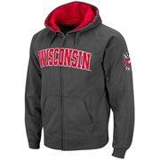 Wisconsin Badgers Charcoal Classic Twill II Full Zip Hoodie Sweatshirt