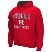 Mens Rutgers Scarlet Knights Scarlet Arch & Logo Mascot Pullover Hoodie