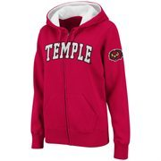 Women's Temple Owls Cherry Classic Arch Full Zip Hooded Sweatshirt