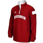 Mens Wisconsin Badgers adidas Cardinal 2014 Football Sideline Coaches Quarter-Zip Long Sleeve Woven Jacket