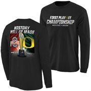 Mens Ohio State Buckeyes vs. Oregon Ducks Black 2015 College Football Playoff National Championship Dueling Trophy Quest Long Sl