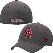 Mens Oklahoma Sooners Top of the World Charcoal Dynasty Memory Fit Fitted Hat