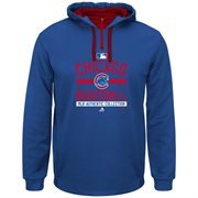 Mens Majestic Royal Blue Chicago Cubs 2015 Authentic Team Property On-Field Colorblock Therma Base Hooded Sweatshirt
