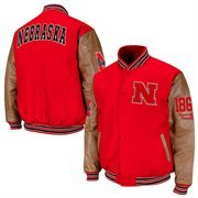 Nebraska Cornhuskers Varsity Letterman Button-Up Jacket - Scarlet/Tan