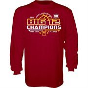 Men's Cardinal Iowa State Cyclones 2015 Big 12 Men's Basketball Conference Tournament Champions Locker Room Long Sleeve T-Shirt