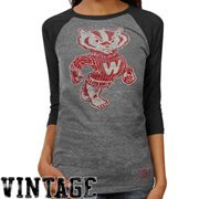adidas Wisconsin Badgers Ladies Supersize Fan Raglan T-Shirt - Ash/Charcoal