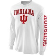 Men's New Agenda White Indiana Hoosiers Distressed Arch & Logo Long Sleeve T-Shirt