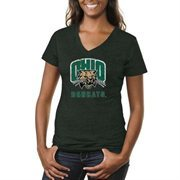 Ohio Bobcats Ladies Distressed Primary Tri-Blend V-Neck T-Shirt - Green