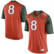 Mens Miami Hurricanes Nike Orange/Green No. 8 Limited Football Jersey