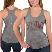 New Mexico Lobos Womens Breaking Hearts Tri-Blend Racerback Tank Top - Gray