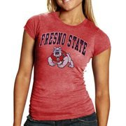 Fresno State Bulldogs Women's Big Arch & Logo Ring Spun T-Shirt - Heathered Cardinal