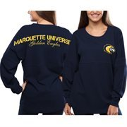 Women's Marquette Golden Eagles Navy Blue Pom Pom Jersey Oversized Long Sleeve T-Shirt