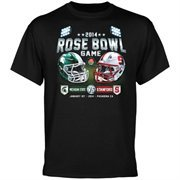 Michigan State Spartans vs. Stanford Cardinal 2014 Rose Bowl Showtime Dueling T-Shirt - Black